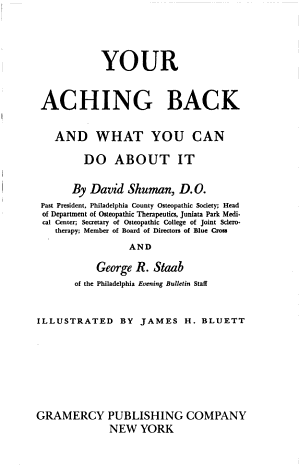 Your Aching Back and what You Can Do about it PDF