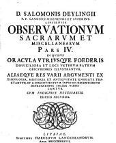 L. Salomonis Deylingii, Observationum sacrarum pars prima (secunda).