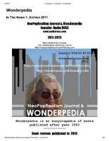 Wonderpedia of NeoPopRealism Journal  In the News 2011 2013 PDF