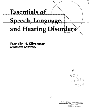 Essentials of Speech  Language  and Hearing Disorders PDF