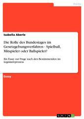 Die Rolle des Bundestages im Gesetzgebungsverfahren - Spielball, Mitspieler oder Ballspieler?: Ein Essay zur Frage nach den Bestimmenden im Legislativprozess