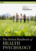 The Oxford Handbook of Health Psychology PDF