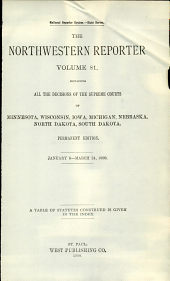 The Northwestern Reporter: Volumes 81-82