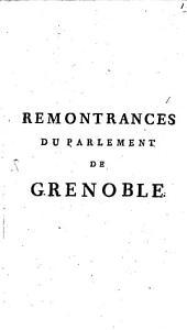Remontrances Du Parlement de Grenoble