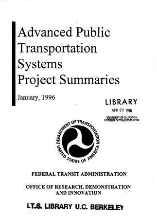 Advanced Public Transportation Systems PDF