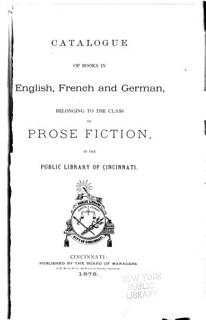 Catalogue of Books in English  French and German