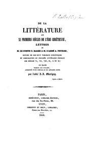 De la littérature aux XI premiers siècles de l'ère chrétienne, lettres ... à M. l'abbé A. Peyron ... Ouvrage traduit de l'italien, augmenté d'une préface et de quelques notes par l'abbé J. A. Martigny