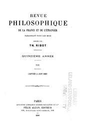 Revue philosophique de la France et de l'étranger: Volume29