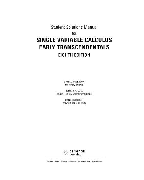 Student Solutions Manual For Stewart S Single Variable Calculus Early Transcendentals 8th