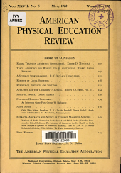 American Physical Education Review: Volume 27, Issue 5
