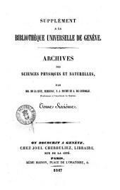 Archives des sciences physiques et naturelles supplement a la Biblioteque universelle de Geneve