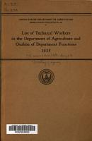 List of Technical Workers in the Department of Agriculture and Outline of Department Functions  1935 PDF