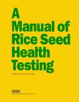 A Manual of Rice Seed Health Testing PDF