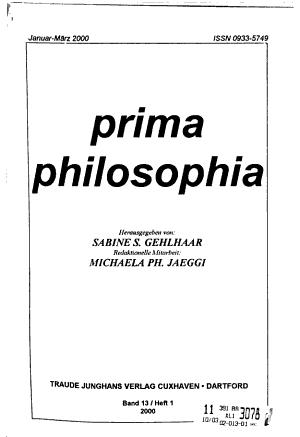 Prima Philosophia PDF
