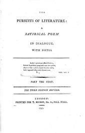 The pursuits of literature: a satirical poem in dialogue. With notes ...