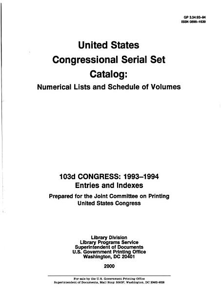 Download United States Congressional Serial Set Catalog Book