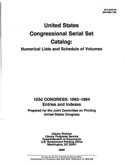 United States Congressional Serial Set Catalog PDF