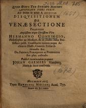 Disqvisitionem De Venae Sectione