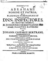 Diss. de Abrahami nomine et patria