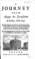 A Journey from Aleppo to Jerusalem at Easter  A D  1697 PDF