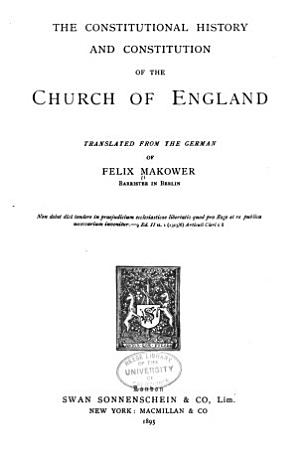The Constitutional History and Constitution of the Church of England PDF