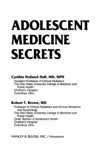 Adolescent Medicine Secrets PDF