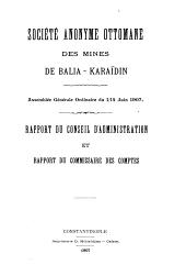 Rapport du Conseil d'administration et rapport des controleurs. Assemblée générale ordinaire