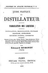 Guide pratique du distillateur, fabrication des liqueurs