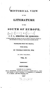 Historical view of the literature of the South of Europe: Volume 2