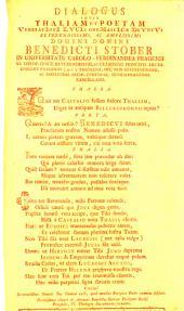 Dialogus Inter Thaliam Et Poetam VeneratIonI LVCIs onoMastICae DeVotVs