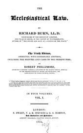 The Ecclesiastical Law: Volume 1
