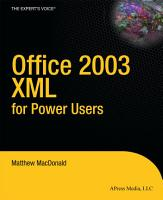 Office 2003 XML for Power Users PDF
