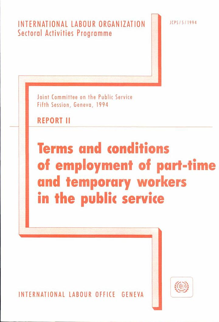 Terms and Conditions of Employment of Part-time and Temporary Workers in the Public Service