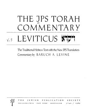 The JPS Torah Commentary  Leviticus