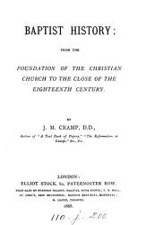 Baptist history     to the close of the eighteenth century PDF