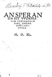 An speranda sit Wormaciae concordia in fide epistola