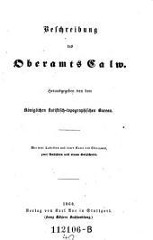 Beschreibung des Oberamts Calw: Band 40