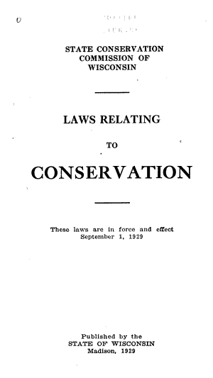 Laws Relating to Conservation