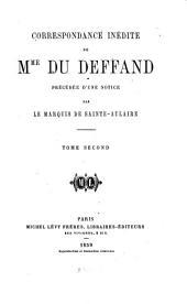 Correspondance inédite de mme du Deffand: Volume2