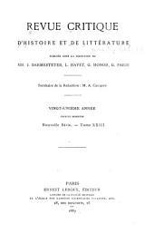 Revue critique d'histoire et de littérature: Volume1;Volume23