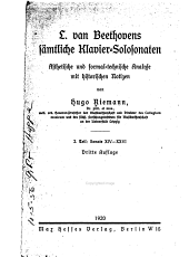 L. van Beethovens sämtliche Klavier-Solosonaten: äthetische und formaltechnische Analyse mit hitorischen Notizen, Band 2