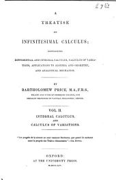 A Treatise on Infinitesimal Calculus: Integral calculus, calculus of variations, and differential equations. 1854