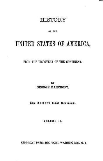 History of the United States of America   from the Discovery of the Continent PDF