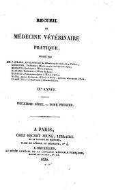 Recueil de médecine vétérinaire: Volume9