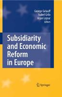 Subsidiarity and Economic Reform in Europe PDF