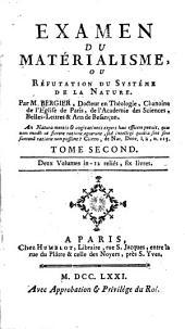 Examen du matérialisme: ou, Réfutation du Systeme de la nature, Volume2