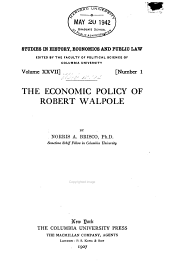 The Economic Policy of Robert Walpole: Issues 72-74