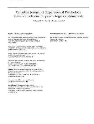 Canadian Journal of Experimental Psychology PDF