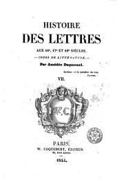 Histoire des lettres, 7: cours de littérature