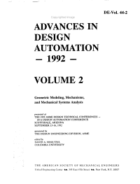 Advances in Design Automation  1992  Geometric modeling  mechanisms  and mechanical systems analysis PDF